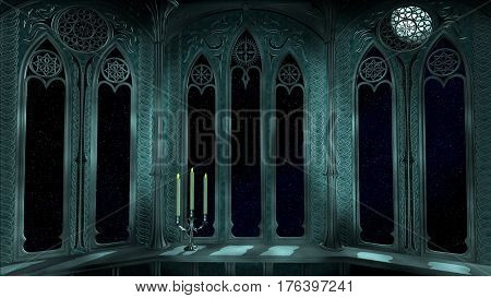 Gothic window balcony in old castle 3d render illustration