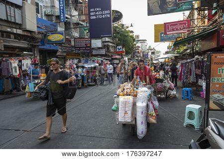 BANGKOK THAILAND - MAR 3 : tourist in Khao San road on march 3 2016. Khao San road is tourist hub of Bangkok.