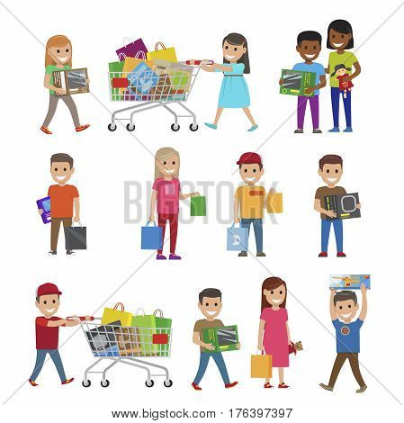 Children with purchases set of icons on white. Male and female children hold packages and boxes in hands and in trolleys. Vector colourful poster in flat style of smiling kids with toys and gifts