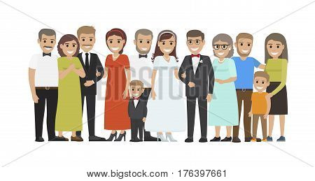 Wedding guests group portrait. Smiling newlyweds with closest relatives and best friends standing together flat vector isolated on white. Happy family illustration for marriage celebrating concepts