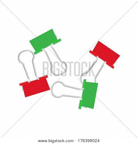 Scattered small binder clips. Colorful paper clips flat vector isolated on white background. Office supplies illustration for documents organizing and time management concepts design