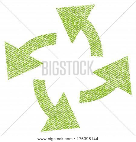 Centrifugal Arrows vector textured icon for overlay watermark stamps. Fabric light green vectorized texture. Symbol with dirty design. Rubber seal stamp with fiber textile structure.