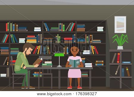 People reading textbooks in library interior with bookshelves. Man and woman seating at the table with open book in hand flat vector. Enthusiastic readers illustration for educational, hobby concepts