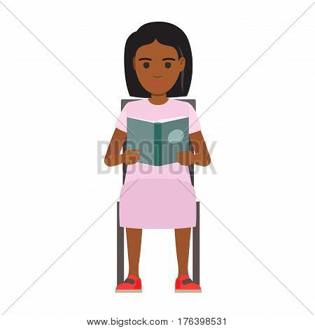 Young woman reading textbook. African american male student seating on chair with open book in hands flat vector isolated on white. Enthusiastic reader illustration for educational and hobby concepts