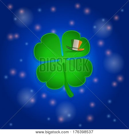 Green St Patrick's Shamrock and Shadow with Irish Hat on a Leaf Over Blue Glowing Space Background