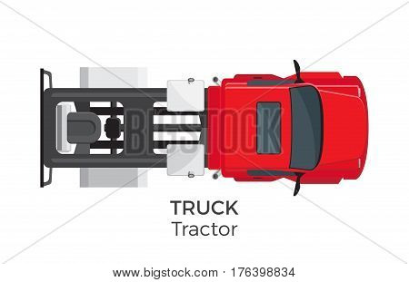Tractor truck top view icon. Semitrailer truck without trailer on hitch flat vector isolated on white background. Commercial vehicle illustration for urban transport concepts and infographics