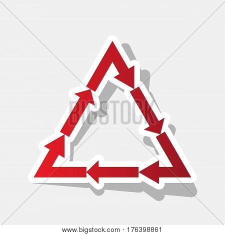 Plastic recycling symbol PVC 3 , Plastic recycling code PVC 3. Vector. New year reddish icon with outside stroke and gray shadow on light gray background.