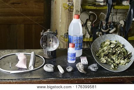 Essential items in a miners daily tool kit. October 8, 2012 - Potosi, Bolivia