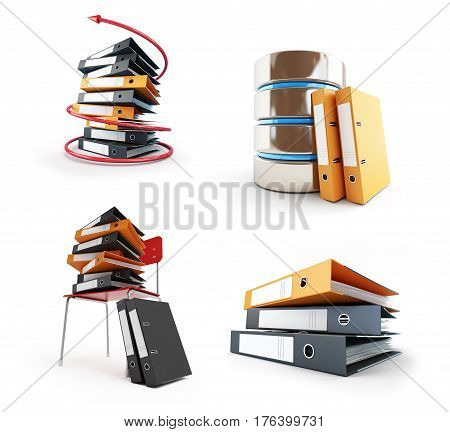 Office folders Protect folder on a white background 3D illustration