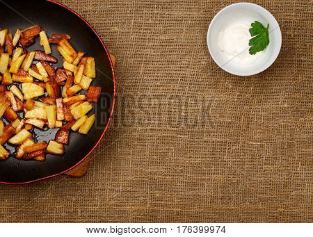 Frying Pan With Fried Potatoes