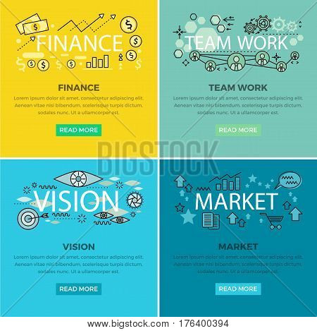 Set of conceptual business web banners. Finance and Team work internet templates. Vision and market colorful square concepts with vector line art pictogram and icons for modern company landing page