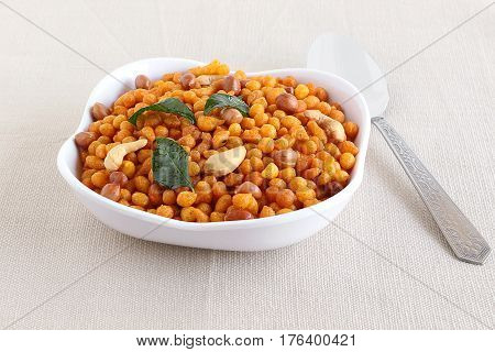 Crispy and spicy savory, an Indian vegetarian snack, usually eaten with coffee or tea.