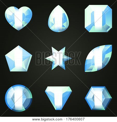 Set of gemstones with different shapes. Set of jewels with different facet form. Game match three items wit power-up. Bonus gems