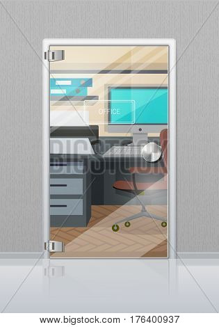 Office workplace through glossy glass door view flat vector. Entrance to the cabinet with table, computer on it and chair. Modern office interior design illustration for business concepts
