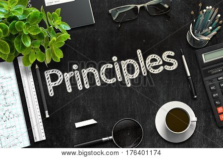 Principles Concept on Black Chalkboard. 3d Rendering. Toned Image.