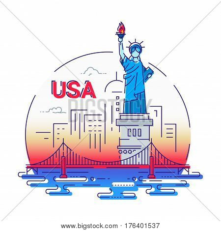 USA - modern vector line travel illustration. Have a trip, enjoy your american vacation. Be on a safe and exciting journey. Landmark image. An unusual composition with the statue of liberty, brooklyn bridge, new york, river in the sky background