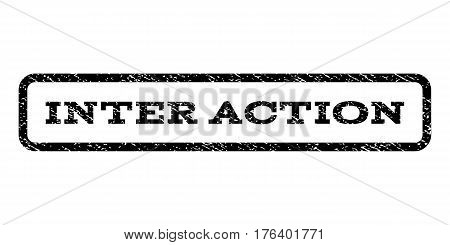 Inter Action watermark stamp. Text caption inside rounded rectangle frame with grunge design style. Rubber seal stamp with dust texture. Vector black ink imprint on a white background.