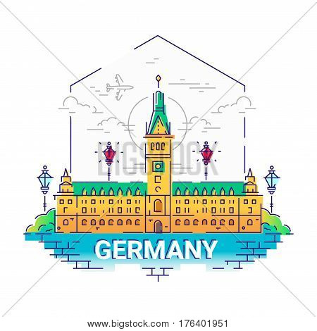 Germany - modern vector line travel illustration. Have a trip, enjoy your german vacation. Be on a safe and exciting journey. Landmark image. An unusual composition with a palace, building, city, cloud, sun, tree, river, plane, lamp in the sky background,