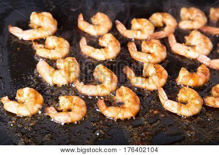 Grilled shrimps. Tasty royal shrimps. Fresh Seafood
