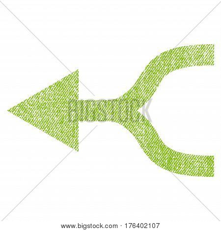 Combine Arrow Left vector textured icon for overlay watermark stamps. Fabric light green vectorized texture. Symbol with scratched design. Rubber seal stamp with fiber textile structure.