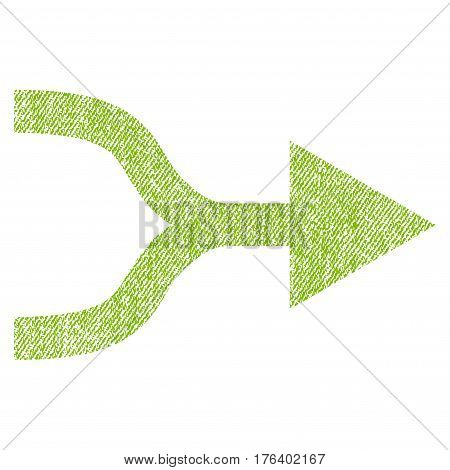 Combine Arrow Right vector textured icon for overlay watermark stamps. Fabric light green vectorized texture. Symbol with scratched design. Rubber seal stamp with fiber textile structure.