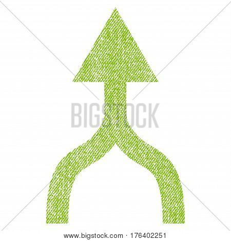Combine Arrow Up vector textured icon for overlay watermark stamps. Fabric light green vectorized texture. Symbol with unclean design. Rubber seal stamp with fiber textile structure.