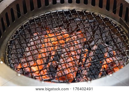 Empty Flaming Charcoal Barbecue Grill, Ready For Raw Meat Bbq Or Yakiniku, Food And Restaurant.