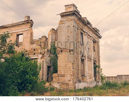 Ruins Of An Ancient House In Odessa, Ukraine. Historic Building Destroyed By Vandals Of The Proletar