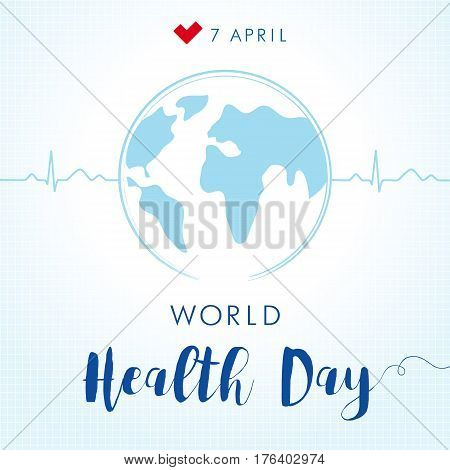 Globe and normal cardiogram as a concept for World Health Day. Poster for 7 April, World Health Day. World Health Day cardio globe card
