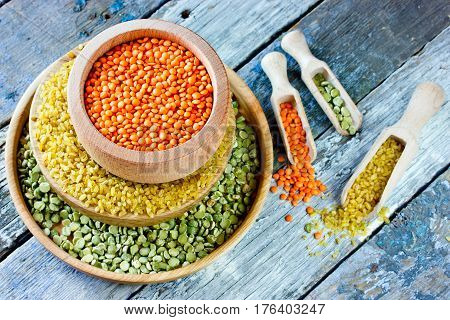 Cereals collection red lentil yellow bulgur and green peas