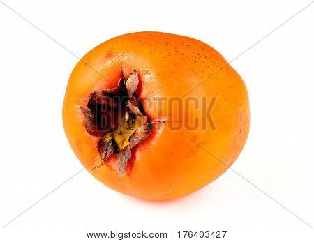 Persimmon Sharon whole close up isolated on white