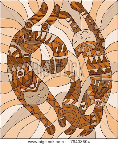 Illustration in the style of stained glass with pair of abstract cats brown tone Sepia