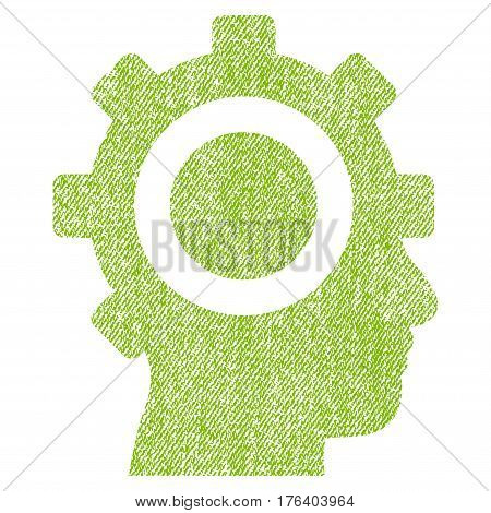 Cyborg Gear vector textured icon for overlay watermark stamps. Fabric light green vectorized texture. Symbol with dust design. Rubber seal stamp with fiber textile structure.