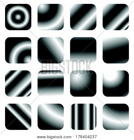 Set Of 16 Grayscale Gradient Templates - Rounded Square Buttons