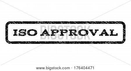 ISO Approval watermark stamp. Text tag inside rounded rectangle with grunge design style. Rubber seal stamp with scratched texture. Vector black ink imprint on a white background.