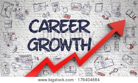 Career Growth Drawn on White Brickwall. Illustration with Doodle Design Icons. Career Growth - Success Concept with Doodle Icons Around on White Brick Wall Background.