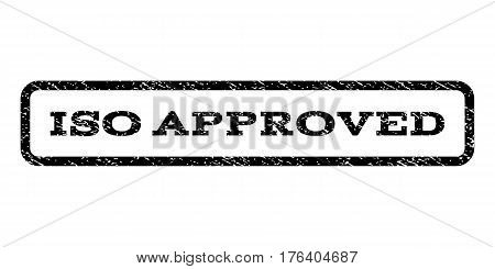 ISO Approved watermark stamp. Text caption inside rounded rectangle with grunge design style. Rubber seal stamp with scratched texture. Vector black ink imprint on a white background.