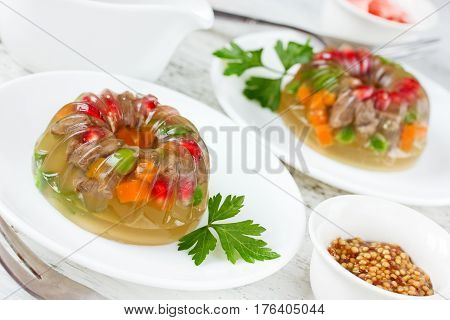 Galantine with vegetables beautiful decoration aspic for festive meal selective focus