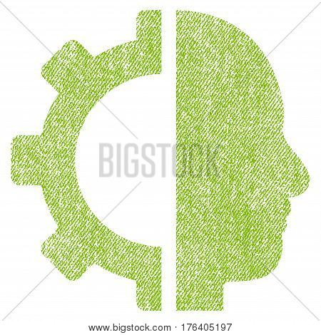 Cyborg Gear vector textured icon for overlay watermark stamps. Fabric light green vectorized texture. Symbol with unclean design. Rubber seal stamp with fiber textile structure.