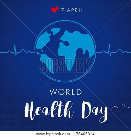 World Health Day cardio globe navy blue. Globe and normal cardiogram as a concept for World Health Day. Poster for 7 April, World Health Day