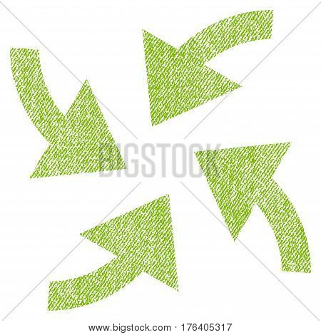 Cyclone Arrows vector textured icon for overlay watermark stamps. Fabric light green vectorized texture. Symbol with dirty design. Rubber seal stamp with fiber textile structure.
