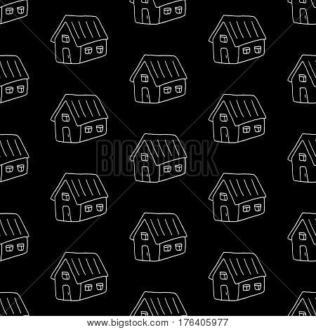Lovely monochrome pattern with hand drawn houses. Cute vector monochrome pattern. Trendy seamless monochrome pattern for fabric, wallpapers, wrapping paper, cards and web backgrounds.