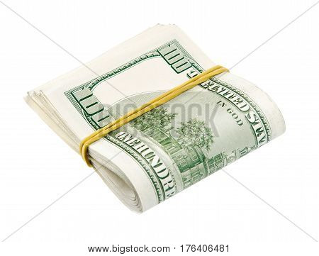 Cash dollars bank notes twisted by half and bound with elastic rope, isolated on white background. Savings or home finances concept.
