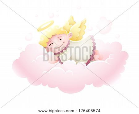 Pretty Angel cupid baby with wings sleeping at pink fluffy cloud under nighttime sky Moon and stars cartoon isolated on white transparent background.