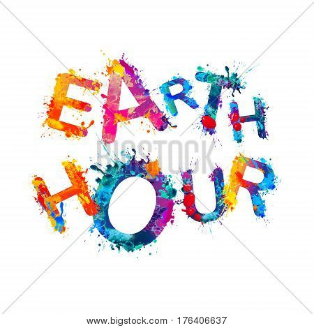 EARTH HOUR. Vector watercolor splash paint inscription