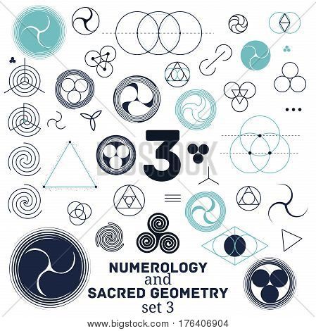 Sacred geometry and numerology symbols vector illustration. Set of number three. Design for meditation spiritual geometry