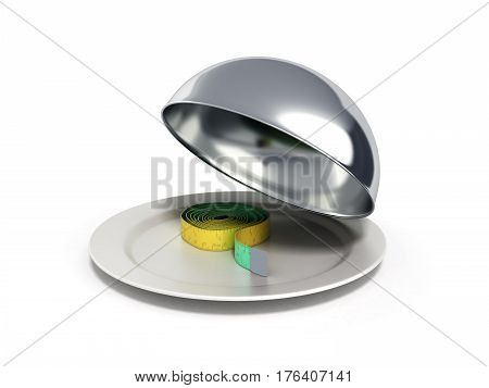 Concepts For A Healthy Food Measure Tape In Restaurant Cloche With Open Lid 3D Render