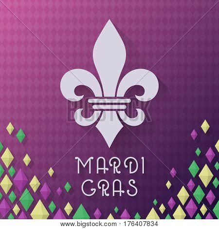 Vintage style Mardi Gras carnival vector illustration. Fleur De Lys Grunge with text.