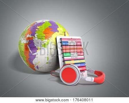 E-boock Whith Globe Audio Learning Languages 3D Render On Grey
