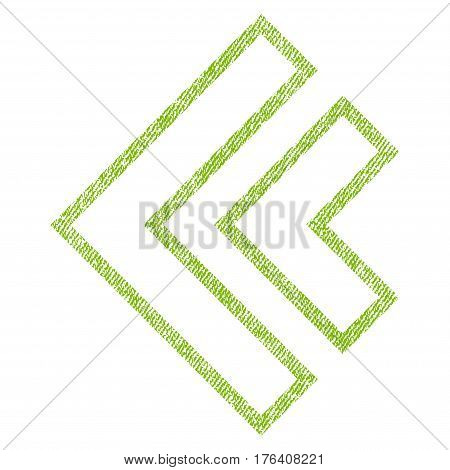 Direction Left vector textured icon for overlay watermark stamps. Fabric light green vectorized texture. Symbol with dirty design. Rubber seal stamp with fiber textile structure.